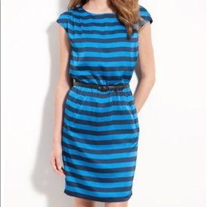 Vince Camuto Blue Stripe Boat Neck Dress Size 14